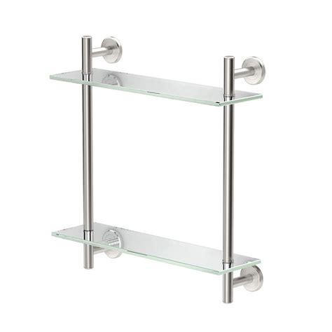 gatco bathroom gatco latitude ii 17 in w 2 tier glass shelf in satin nickel 1392sn the home depot