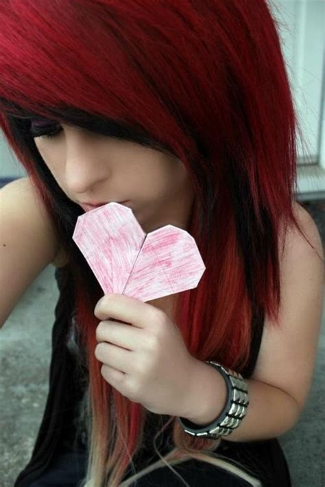 emo hairstyles red and black black and red hair emo goth hair pinterest
