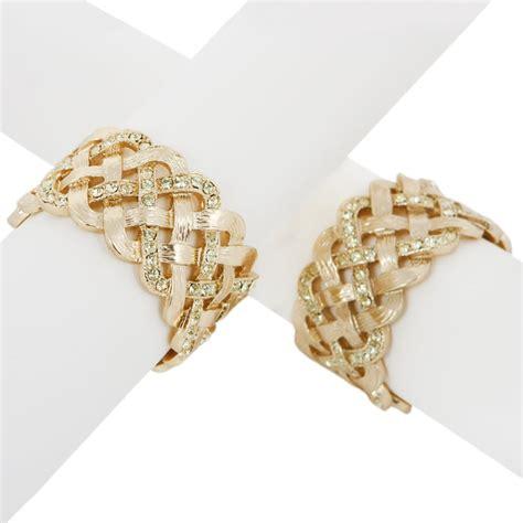 Buy L'Objet Matt Braid Napkin Rings Yellow Swarovski  Set of 4   Amara
