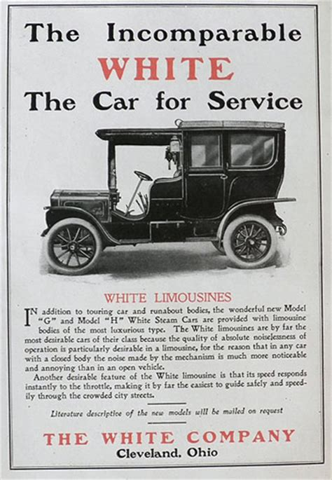 car service ad 1907 white limousine ad the car for service vintage car ads