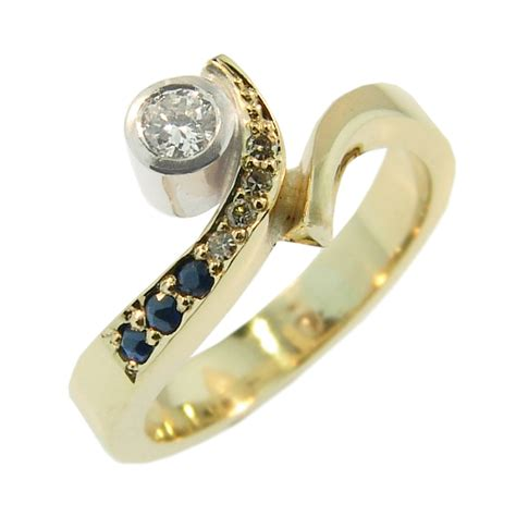 9ct yellow white gold sapphire ring cameron