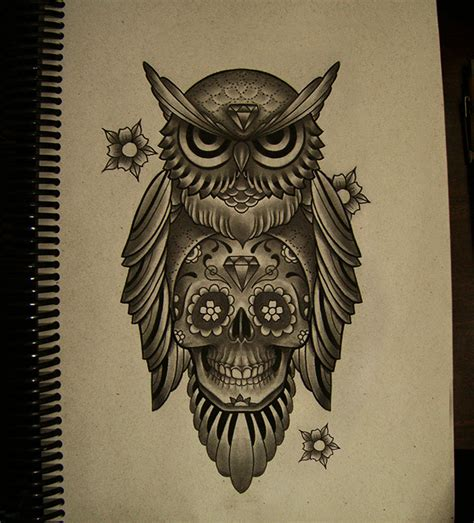 owl and sugar skull tattoo the gallery for gt sugar skull owl designs drawings