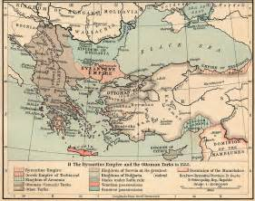 Ottoman Empire Turks Map Of The Byzantine Empire And The Ottoman Turks In 1355 Size