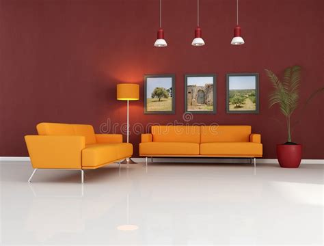 living room with orange couch orange couch in modern living room royalty free stock