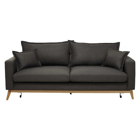 Brown And Grey Sofa 3 Seater Fabric Sofa Bed In Grey Brown Duke Maisons Du Monde
