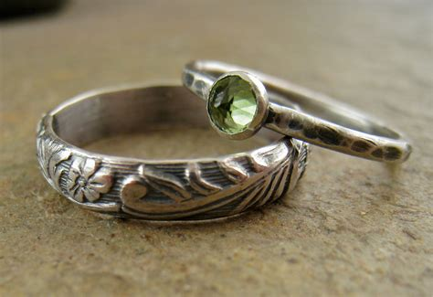 Wedding Ring Nature by Sterling Silver Peridot Wedding Bands Flower Silver Band