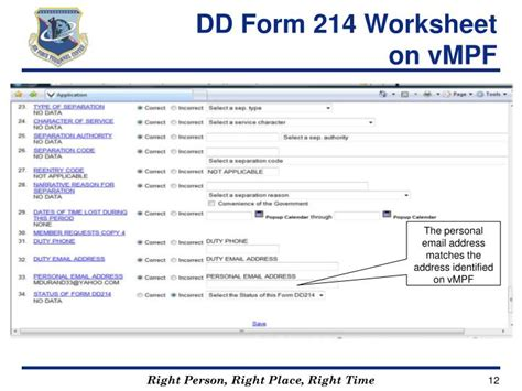 Dd 214 Worksheet by Ppt Dd Form 214 Retirements Separations
