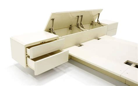 Headboard With Attached Nightstands by Ivory Platform Bed With Attached Nightstands And