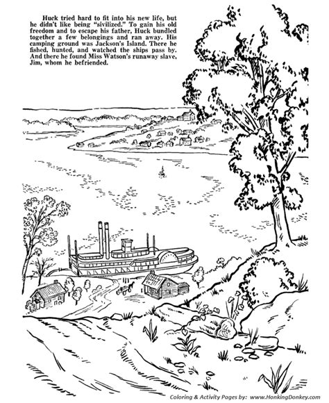 coloring page of mississippi river huckleberry finn coloring pages page 5 mark twain