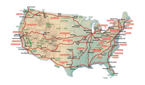 passenger map usa map of american passenger routes pictures to