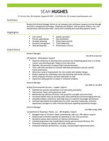 general manager cv exle for management livecareer