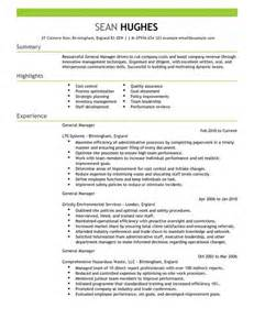 cv manager template general manager cv exle for management livecareer