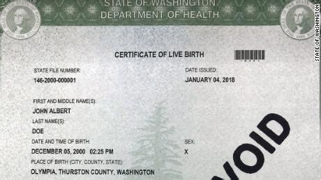 Washington Birth Records Washington State Offers Three Gender Options For Birth Certificates Cnn
