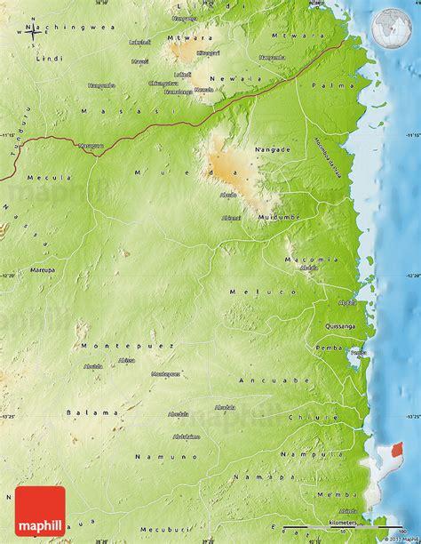 physical map of mozambique physical map of cabo delgado