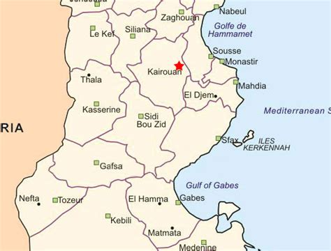 where is tunisia located on a map maps of kairouan