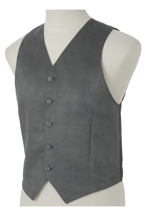 Vest Grey gray faux suede mens vest vests by custom tailored vests