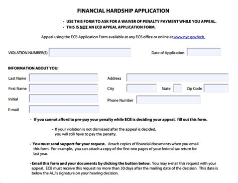 Sle Financial Hardship Letters 9 Download Free Documents In Pdf Word Investment Application Form Template