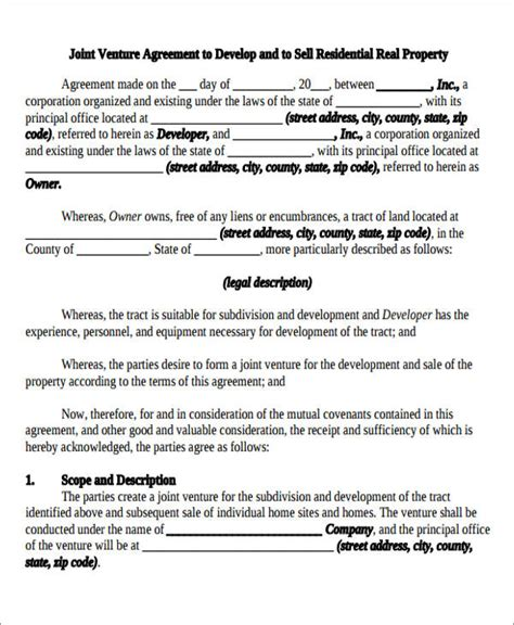 venture capital agreement template joint venture agreement sle word format