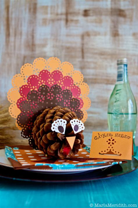 thanksgiving centerpiece craft for pinecone turkey centerpieces family crafts