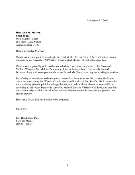 Child Support Letter To Judge Chief Judge Letter 1 Sixth Request
