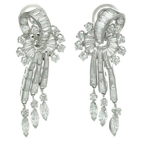 Chandelier Clip Earrings 1950s Platinum Scroll Chandelier Clip On Earrings At 1stdibs