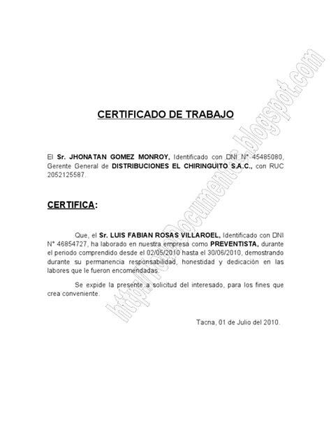 modelo de certificado sobre experiencia laboral para las pruebas modelo de certificado de trabajo tododocumentos info