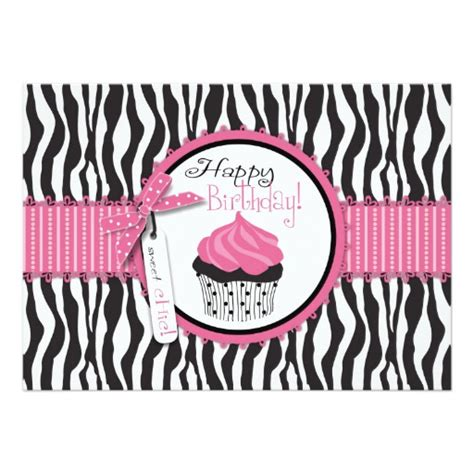 zebra print birthday cards printable zebra print cupcake birthday card zazzle