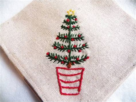 christmas tree hand embroidery pattern art threads monday project christmas tree embroidery
