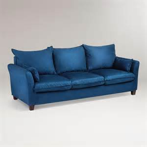 blue sofas midnight blue microsuede luxe 3 seat sofa slipcover