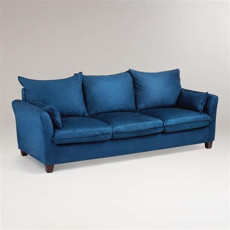 midnight blue microsuede luxe 3 seat sofa slipcover