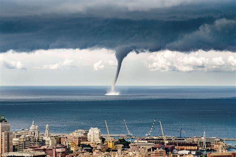 genoa sea of a waterspout descending on italian