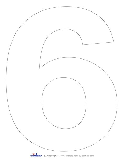 printable number 6 stencil large