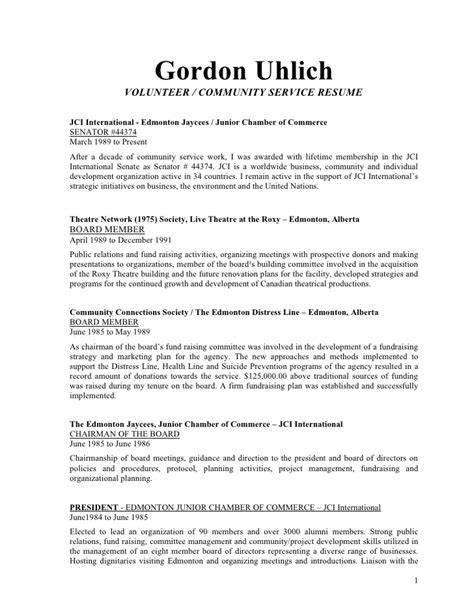 community volunteer resume exle uhlich volunteer and community development resume
