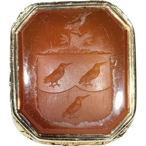antique georgian armorial seal carnelian and 18k gold c