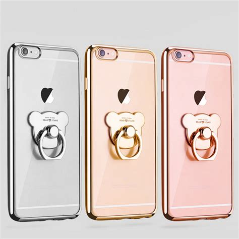 tpu metal clear back electroplate ring holder for iphone 6 6s 7 plus ebay