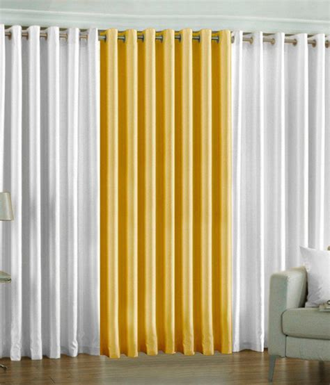 long yellow curtains pindia set of 3pc plain eyelet long door curtains white