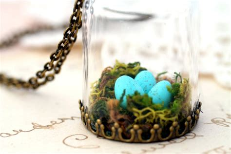 Terrarium Jewelry by Moss Terrarium Pendant Birds Nest Necklace Robins Nest