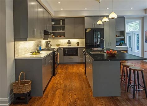 gray wood kitchen cabinets gray kitchen cabinets with dark wood floors home design