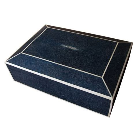 Rest Your Bones On The Box by Navy Blue Shagreen And Bone Inlay Box Design