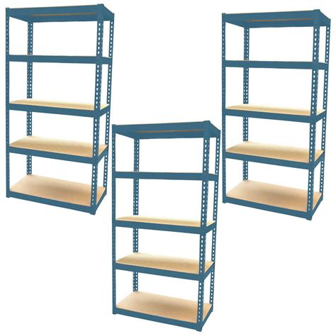 3 bay shelving unit heavy duty 5 tier shelf steel racking