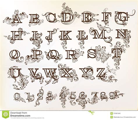 Decorative Alphabets And Initials by Collection Of Vector Abc In Vintage Style With