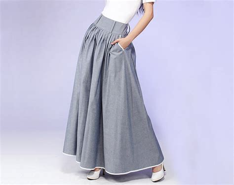items similar to gray maxi skirt cotton skirt with