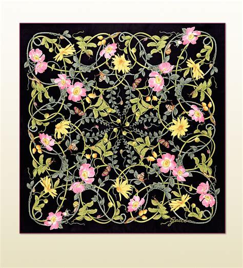 flower pattern gucci gucci flower print silk foulard in yellow lyst