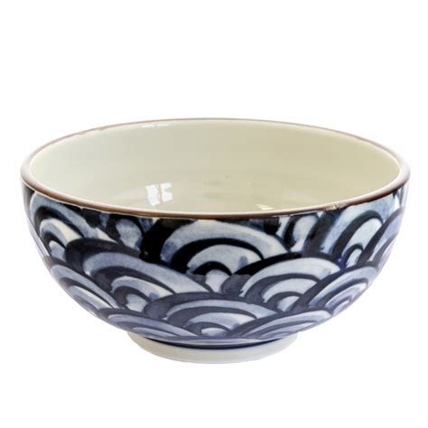 japanese pattern bowl japan centre ceramic noodle bowl white blue wave