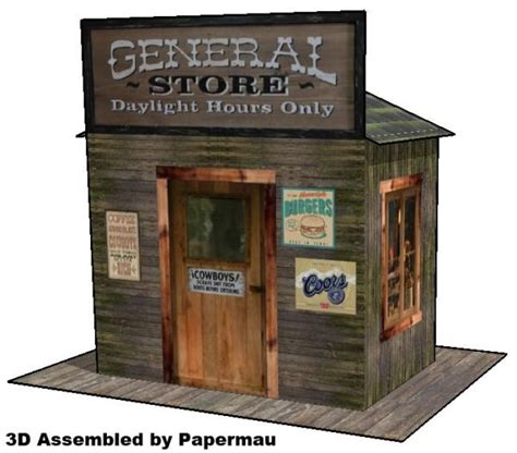 Papercraft Store - western general store for diorama free paper model