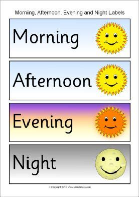 morning afternoon evening and night word labels sb10153 sparklebox slp vocabulary