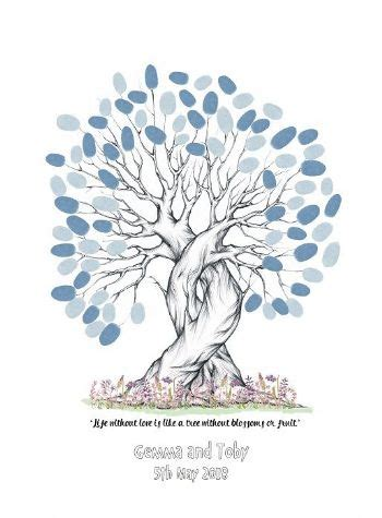 Wedding Keepsake Quotes by A3 Personalised Quote Wedding Fingerprint Tree Guest