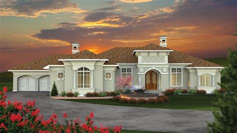 One Story House Plans With Two Master Suites by Mediterranean Floor Plans Mediterranean Style Designs