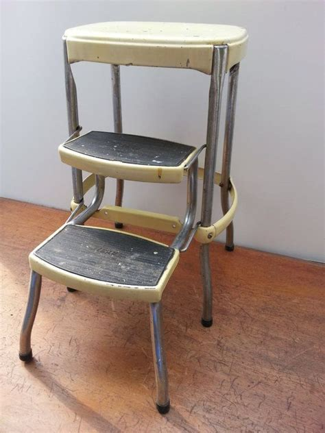 vintage cosco metal step stool vintage cosco step stool metal kitchen yellow industrial