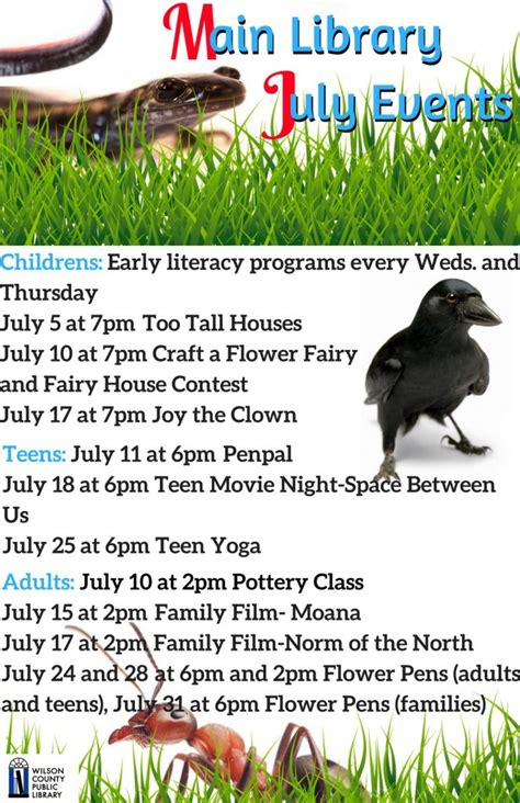 fcpl news and special events library library programs for wilson county nc in july the grey